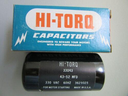 "HI-TORQ Start Capacitor 33043 43-52 MFD 330 VAC 60 Hz 3-1//4/"" H x 1-3//4/"" W"