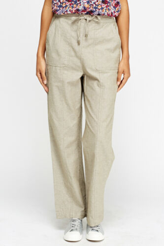 Womens beige pull on cotton trousers from Edinburgh woollen mill sizes 16 to 22