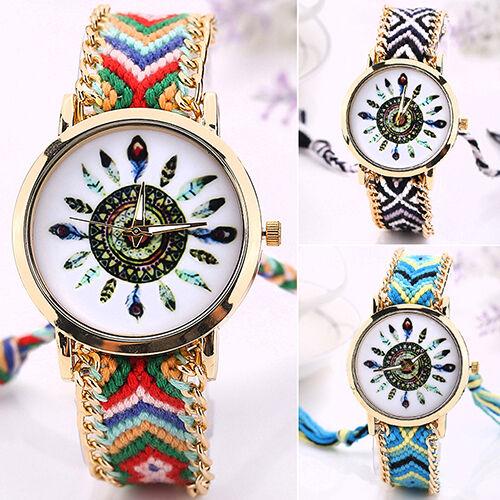 Women's Analog Quartz Chain Knitted Braided Bracelet Eyeful Ethnic Wrist Watch