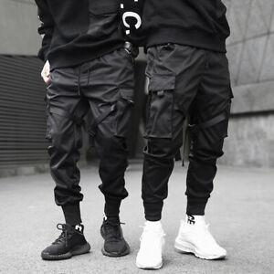 Pantalon-homme-rubans-streetwear-joggers-cargo-harem-hip-hop-Harajuku-Fashion
