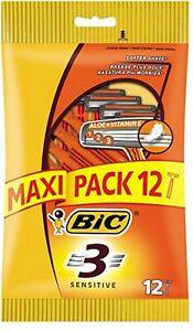 MAXI-PACK-12-Bic-3-Sensitive-Triple-Blade-Mens-Disposable-shaving-Razor-Aloe