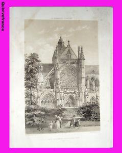 Litho-034-La-Normandie-illustree-034-Eglise-de-Grand-Andely-Eure-Felix-BENOIST