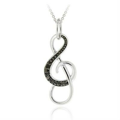 925 Silver Musical Note Black Diamond Accent Necklace