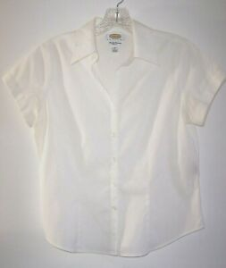 Talbots White Button Front SS Blouse 6 Petite Wrinkle Resistant Stretch Cotton