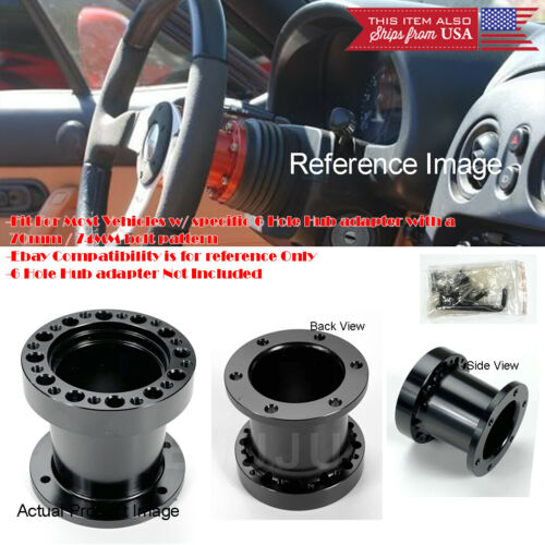 "3/"" Black Steering Wheel 6 Holes Hub Extender Extension Spacer For Hyundai Kia"