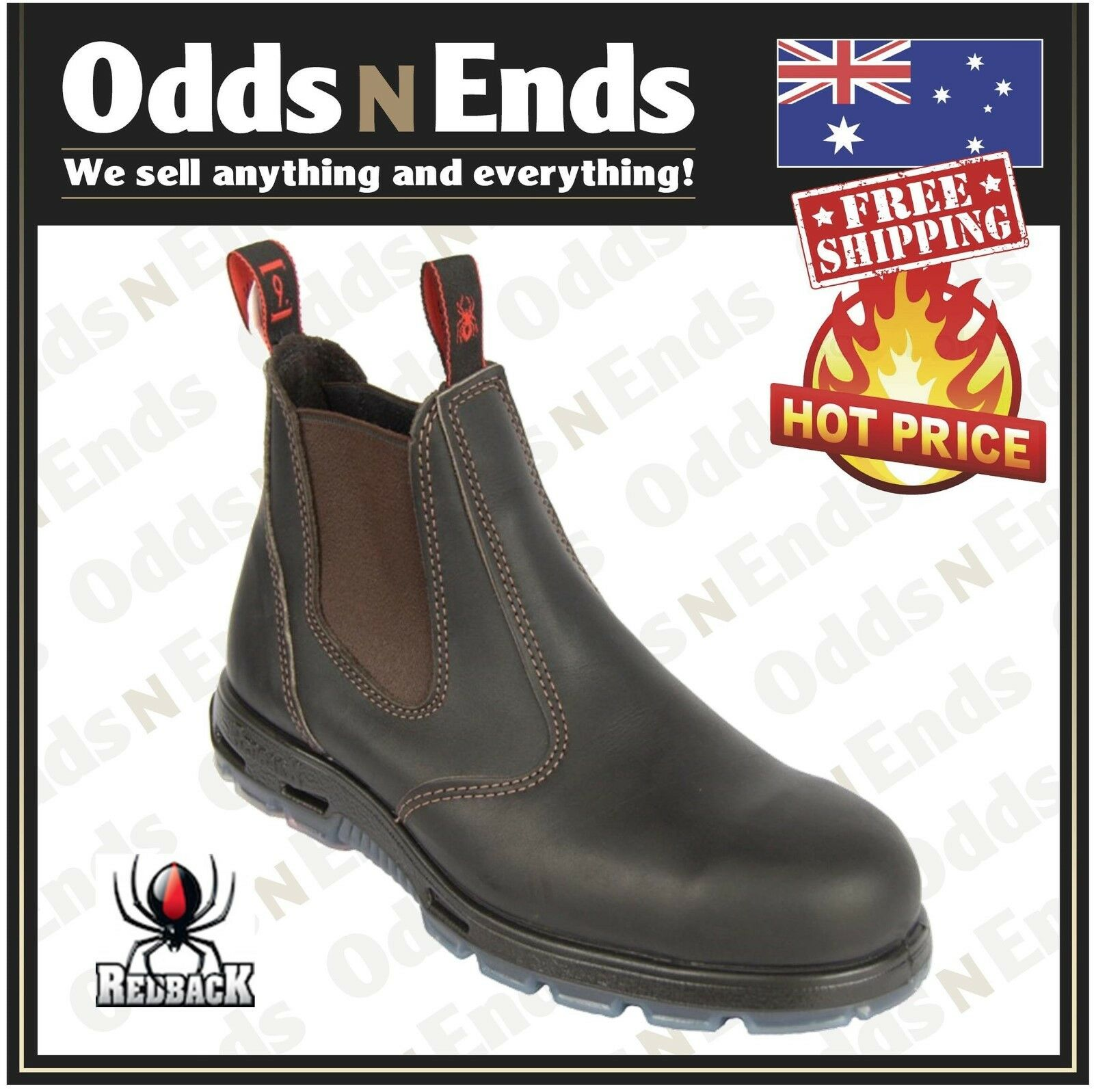 USBOK Redback Work Elastic Sided Boots. STEEL Cap Safety Bobcat AUSSIE MADE NEW