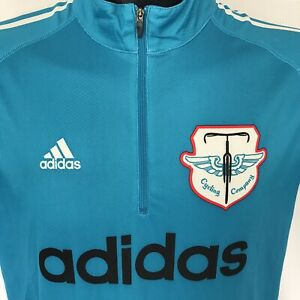 Details about Adidas Short Sleeve 1/4 Zip Shirt Cycling Company Jersey ClimaLite ADULT LARGE