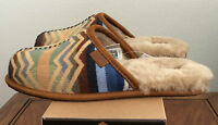 Ugg Mens Size 9 Chestnut Brown Scuff Deco Pendleton Slippers Warm Wool 1010236