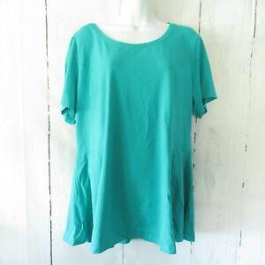 New-Isaac-Mizrahi-Live-Top-1X-Green-Turquoise-Seamed-Peplum-T-Shirt-Plus-Size