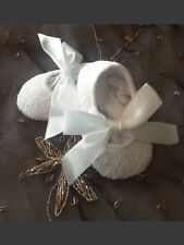 Baby Or Infant White Lace w/white ribbon ties Crib Shoes  (Size 0-3 Months)