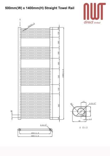 Cromato Dritto Binario CALORIFERO 2294 BTU RADIATORE SCALDA W 500mm H x 1400mm