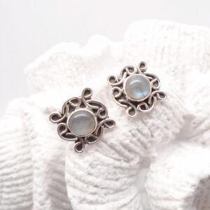 Labradorit-rund-Nostalgie-Design-Ohrringe-Ohrstecker-Stecker-925-Sterling-Silber