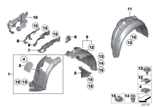 BMW NEW GENUINE X1 SERIES E84 FRONT LEFT RIGHT WHEEL ARCH COVER 2993140