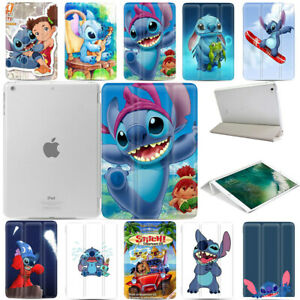 Stitch-Cute-Print-Magnetic-PU-Leather-Smart-Cover-Hard-Back-Case-For-Apple-iPad
