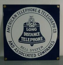 Porcelain Over Heavy Steel Bell System American Telephone & Telegraph Co. Sign