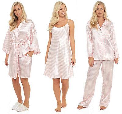 Satin Candy Stripe Chemise Pyjamas Kimono Robe Wedding Ladies Pink Bridal Party Halten Sie Die Ganze Zeit Fit