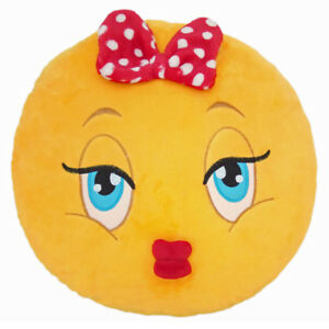 Details about Girl with Bow Emoticon Emoji Pillow Emoticon Cushion Soft  Smiley 32cm NEW
