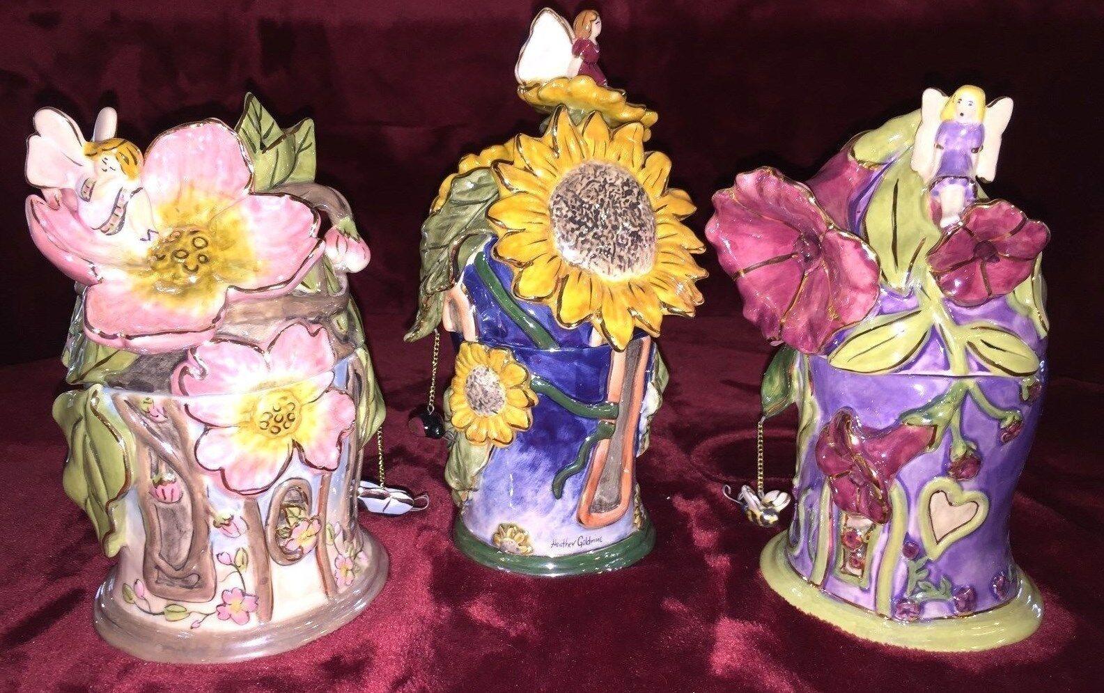 FRAGRANCE LAMP LAMP LAMP by H GoldMINC FAIRY BEE LADY BUG BUTTERFLY SET OF 3 NIB Blau SKY 58322d