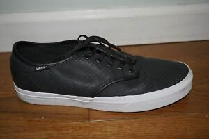 28e761d710 VANS MEN S Sz 9.5 ATWOOD PERFORATED LEATHER BLACK SKATE SHOES ...