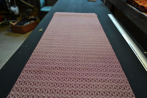 Japanese Wool Fabric Kasuri Style Print Maroon and White 1027
