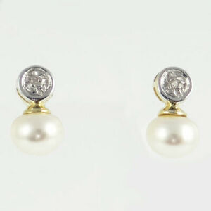 47a893d33 Image is loading 9ct-Gold-Pearl-and-Diamond-Stud-Earrings