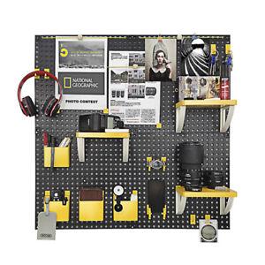Hole-board-Wall-shelving-free-punch-black-amp-yellow-80cm-80cm