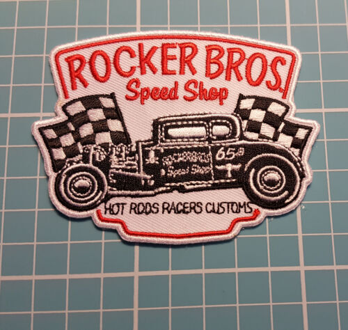 ROCKER BROS SPEED SHOP EMBROIDERED IRON ON PATCH HOT ROD RAT ROD PATCHES BADGES