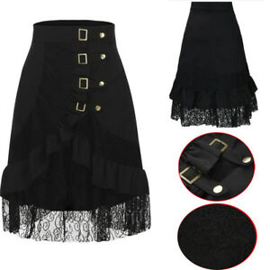 Women-039-s-Steampunk-Clothing-Party-Club-Wear-Punk-Gothic-Retro-Black-Lace-Skirt