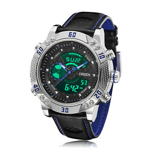 Mens-XXL-Case-Military-Army-Digital-Blue-Leather-Sport-Quartz-Watch-WaterProof