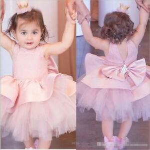 b5792458fba68 Details about Pink Lovely Satin Tulle Little Princess Flower Girl Dress  Birthday Party Gown