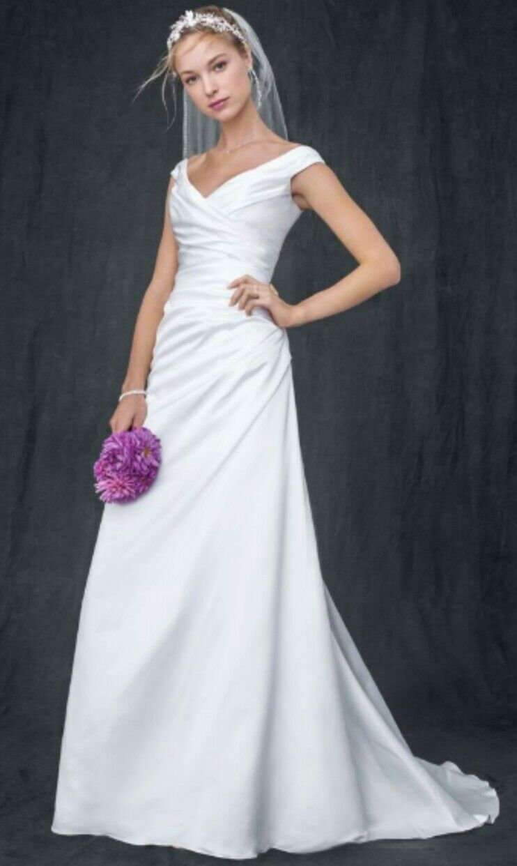 White David's Bridal Off-the-shoulder A-Line with Side-draped Bodice Dress. S6.