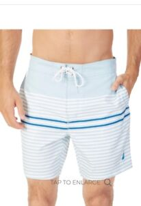 3fc5cca902 Nautica Mens Quick Dry Full Elastic Waist Striped Swim Trunk- Pick ...