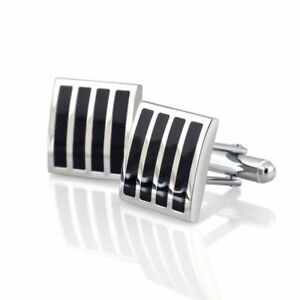Black-Silver-Square-Mens-Dress-Wedding-Party-Gift-Stripe-Cuff-Links-Cufflinks