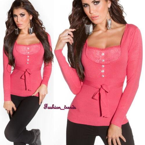 Strass Feinstrick Pullover Strickpullover Pulli Shirt Top Spitze*XS S M-34 36 38