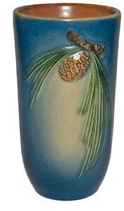 Roseville-Pine-Cone-Blue-Flat-Tumbler