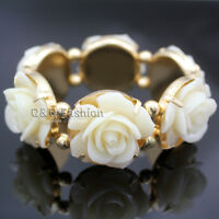 Cream Puffy  Rose Flower Charm Gold Link Chain Bead Stretch Bracelet Bangle Cuff