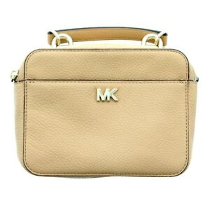 7a9bc7c2189d Michael Kors MK Crossbody Mini Leather Guitar Strap Purse, Butternut ...