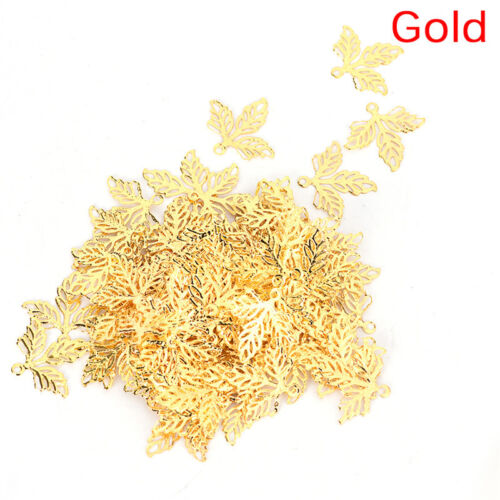 100PCS Leaves Filigree DIY Accessories Metal Craft Connector For Jewelry MakingH