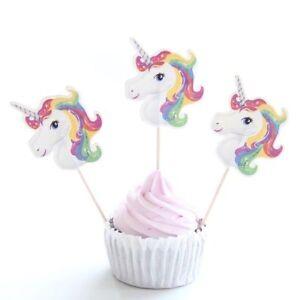 12 Pièces Licorne Cupcake Décoration Cure Dents Gâteau Pour Fête D