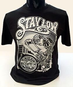 Restate-Basse-T-shirt-da-uomo-s-2xl-Graffiti-Biker-Rider-Lowrider-Scheletro-Skater
