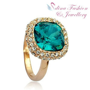 18K-Rose-Gold-Plated-Made-With-Swarovski-Stunning-Crystal-Cushion-Cut-Ring