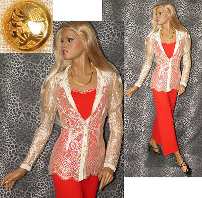 ST JOHN COLLECTION  (3PC) Red Tank & Pant Knit Suit w/ Gold Lace Top; Sz 6