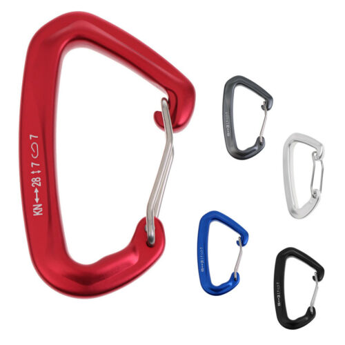Ultralight 28KN Wire Gate D Carabiner for Rock Climbing Ice Climbing Quickdraw