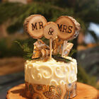 3Pcs Wood Mr & Mrs Wedding Cake Toppers Pick Anniversary Party Favors Decor Set