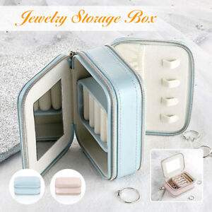 Portable-Travel-Jewelry-Storage-Bag-Earring-Ring-Organizer-PU-Box-Case-amp-Mirror