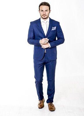 Abito Formale Da Uomo Slim Fit Suit Navy Check Designer Alexander Prezzo All'ingrosso- Vincere Elogi Calorosi Dai Clienti