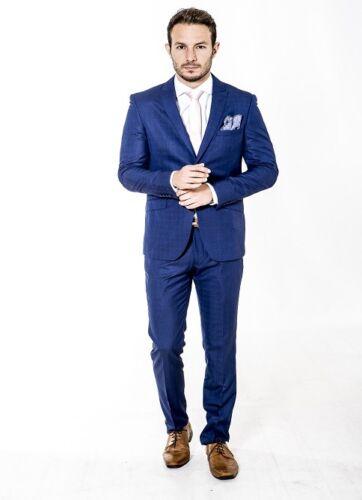 Mens Formal Suit Slim Fit Suit Navy Check designer Alexander Wholesale Price