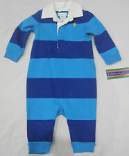 Infant Boys Ralph Lauren NWT Rugby Blue Stripe Long Sleeve Romper Outfit Sz 6M