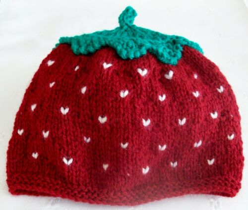 Baby strawberry hat and bootees gift set 0-6 months handmade