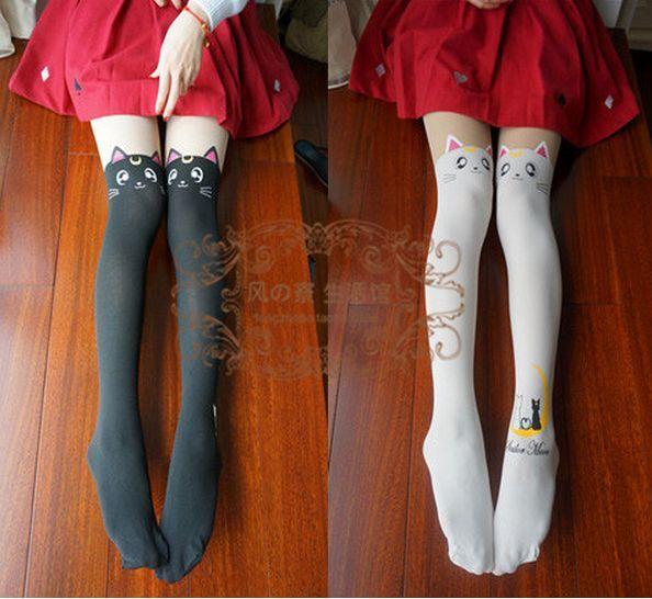 Anime Sailor Moon Cosplay Luna Cat Pattern Kawaii Lolita Pantyhose Tights Socks